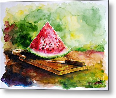 Sliced Watermelon Metal Print by Zaira Dzhaubaeva