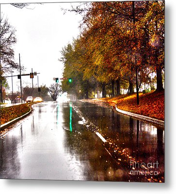Metal Print featuring the photograph Slick Streets Rainy View by Lesa Fine