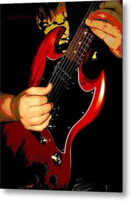 Red Gibson Guitar Metal Print by Chris Berry