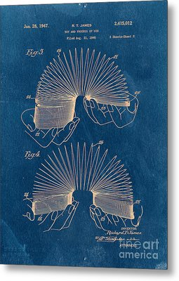Slinky Toy Blueprint Metal Print by Edward Fielding