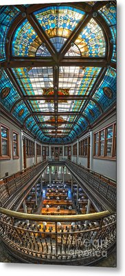 Slocum Hall Romanesque Arcade And Stained-glass Skylight Ohio Wesleyan University Metal Print by Brian Mollenkopf