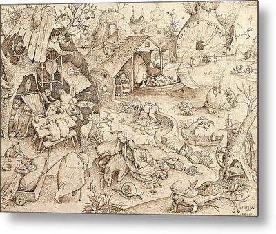 Sloth Pieter Bruegel Drawing Metal Print by