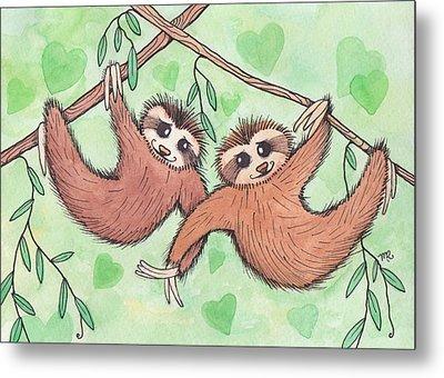 Sloth Valentines Metal Print