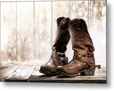 Slouch Cowboy Boots Metal Print by Olivier Le Queinec