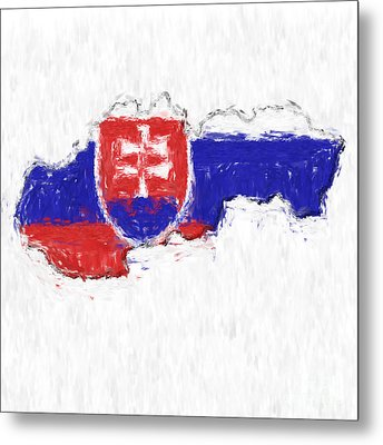 Slovakia Painted Flag Map Metal Print by Antony McAulay