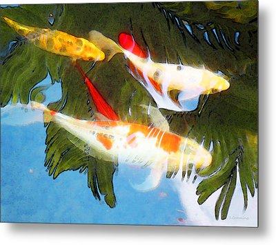 Slow Drift - Colorful Koi Fish Metal Print by Sharon Cummings