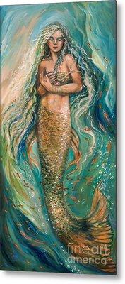 Slumbering Mermaid Metal Print by Linda Olsen