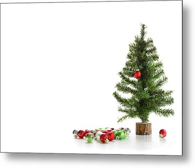 Small Artifical Tree With Ornaments On White Metal Print by Sandra Cunningham