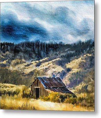 Small Barn In The Hills Metal Print
