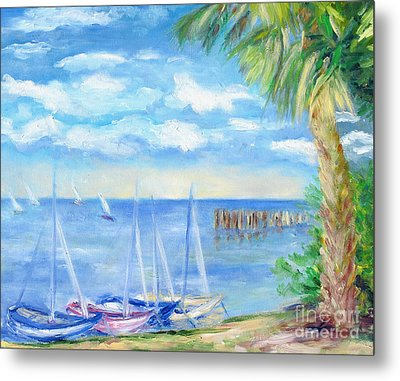 Small Boats On Water Metal Print