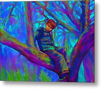 Small Boy In Large Tree Metal Print
