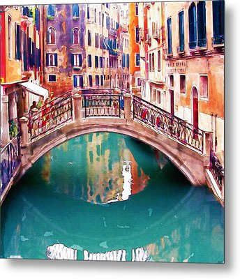 Small Bridge In Venice Metal Print by Marian Voicu