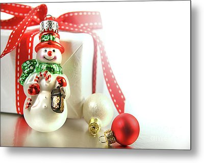 Small Christmas Ornament With Gift Metal Print by Sandra Cunningham
