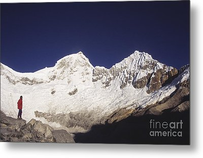 Small Climber Big Peaks Metal Print by James Brunker