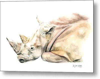 Small Colour Rhino Metal Print by Elizabeth Lock