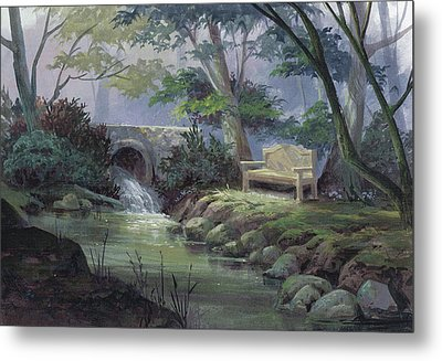 Small Falls Descanso Metal Print by Michael Humphries