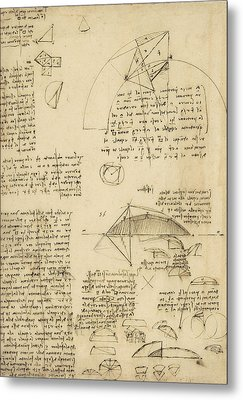 Small Front View Of Church Squaring Of Curved Surfaces Triangle Elmain Or Falcata Metal Print by Leonardo Da Vinci