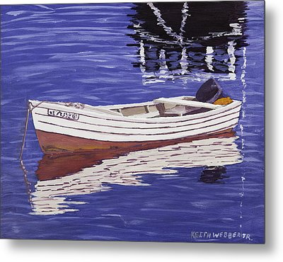 Small Motor Boat In Maine Harbor  Metal Print by Keith Webber Jr