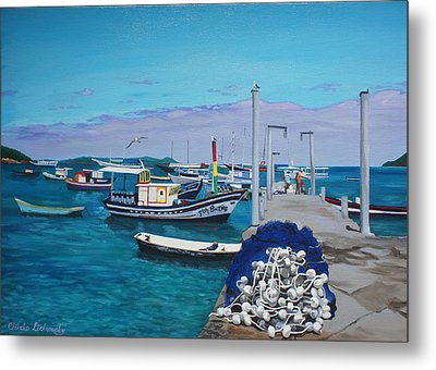 Small Pier In The Afternoon-buzios Metal Print by Chikako Hashimoto Lichnowsky