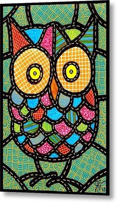Small Quilted Owl Metal Print by Jim Harris