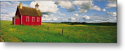 Small Red Schoolhouse, Battle Lake Metal Print by Panoramic Images
