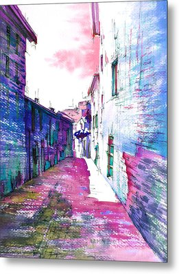 small streets of the city of Gubbio-1 Metal Print by Khromykh Natalia