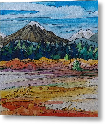 Small Sunriver Scene Metal Print by Terry Holliday