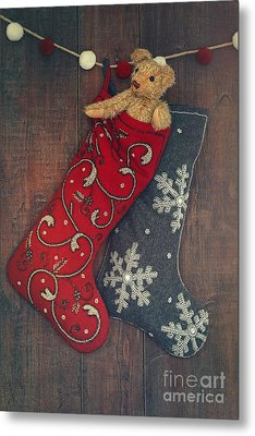 Small Teddy Bear In Stocking For Christmas Metal Print by Sandra Cunningham