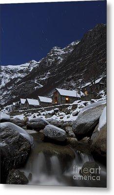 Small Village At Full Moon Metal Print by Maurizio Bacciarini