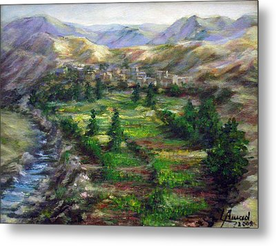 Village In The Mountain  Metal Print by Laila Awad Jamaleldin