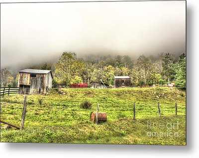 Smalll West Virginia Farm Coming Out Of Clouds Metal Print by Dan Friend