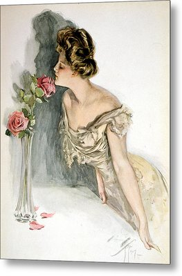 Smelling The Roses Metal Print by Harrison Fisher