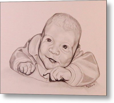 Metal Print featuring the drawing Smile by Sharon Schultz