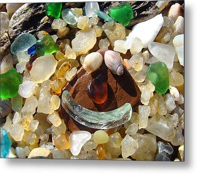 Smiley Face Art Prints Seaglass Shells Agates Beach Metal Print by Baslee Troutman