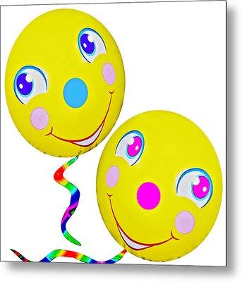 Smiley Face Balloons Metal Print