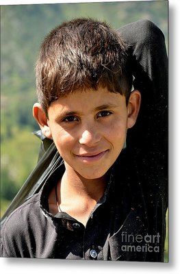 Metal Print featuring the photograph Smiling Boy In The Swat Valley - Pakistan by Imran Ahmed