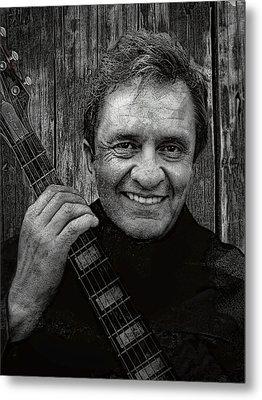 Smiling Johnny Cash Metal Print