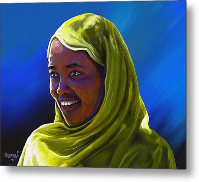 Metal Print featuring the painting Smiling Lady by Anthony Mwangi