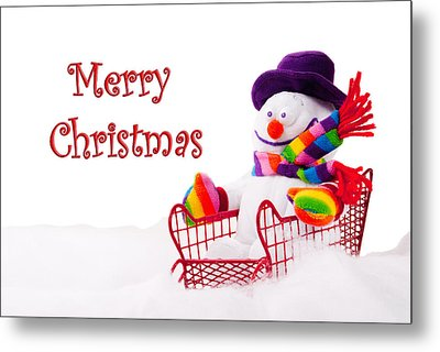 Metal Print featuring the photograph Snowman Riding In A Red Sleigh - Christmas  by Vizual Studio