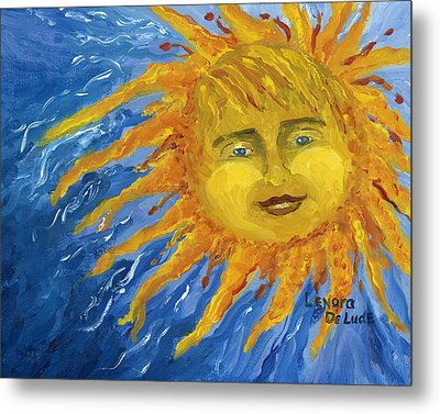 Metal Print featuring the painting Smiling Yellow Sun In Blue Sky by Lenora  De Lude