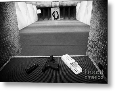 Smith And Wesson 9mm Handgun With Ammunition At A Gun Range In Florida Metal Print by Joe Fox