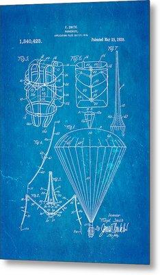 Smith Parachute Patent Art 1920 Blueprint Metal Print by Ian Monk