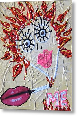 Metal Print featuring the painting Smoke Me Now by Lisa Piper