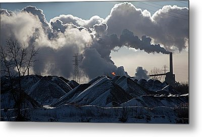 Smoke Rising From A Steel Mill Metal Print by Jim West