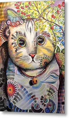 Smokey ... Abstract Cat Art Metal Print by Amy Giacomelli