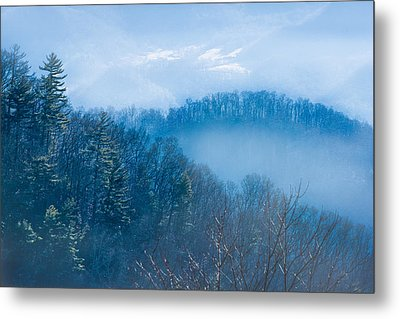 Smokies In Blue Metal Print by Maria Robinson