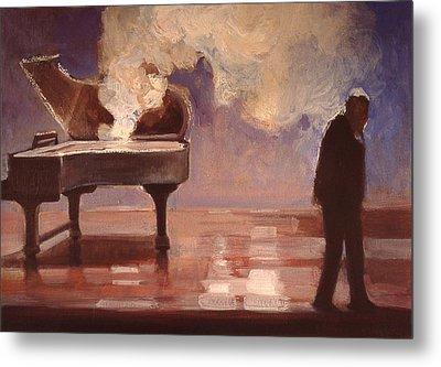 Smokin Piano Metal Print by Emily Gibson