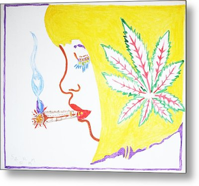 Metal Print featuring the painting Smoking Blonde by Stormm Bradshaw
