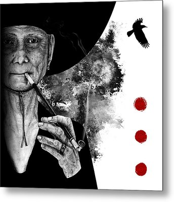 Metal Print featuring the drawing Smoking Crone by Penny Collins