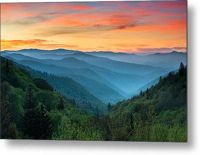 Smoky Mountains Sunrise - Great Smoky Mountains National Park Metal Print by Dave Allen